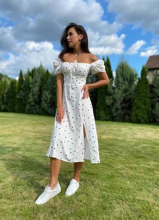 Платье миди с разрезом открытыми плечами