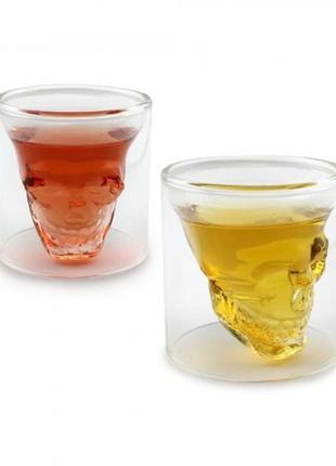 Рюмка стопка с двойными стенками череп в стакане 70 ml