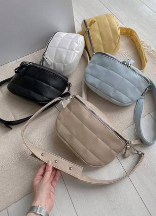 Стильная прошитая сумка бананка 😍 стёганная поясная сумка