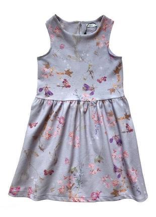 Платье для девочки сиреневого цвета в цветочный принт