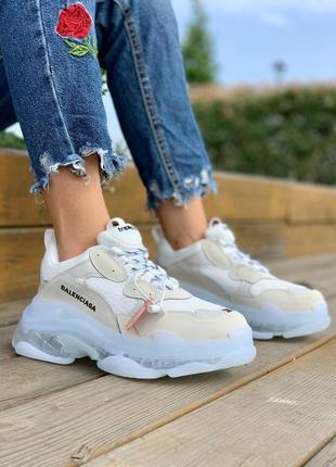 Женские кроссовки демисезонные на массивной белой подошве