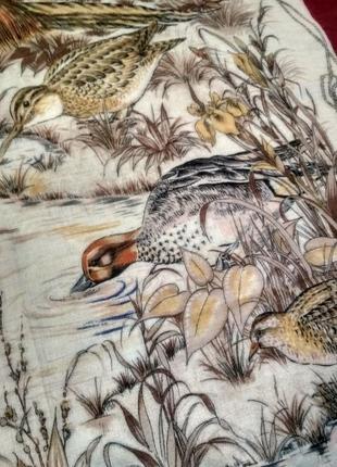 Брендовый котоновый или шерстяной платок tino lauri, птицы3 фото