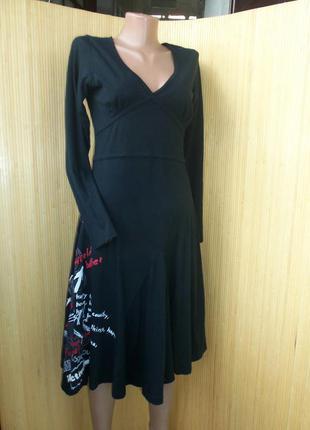 Трикотажное чёрное летнее платье с приинтом и вышивкой happy every time