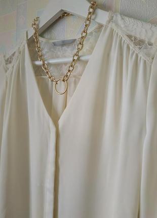 Блузка блуза гипюр кружево молочная h&m