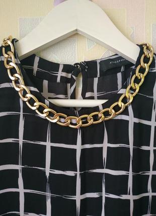 Блузка удлиненная туника с цепью принт клетка atmosphere шифон