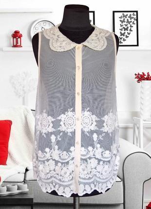 Блуза шифоновая с кружевной вставкой g21