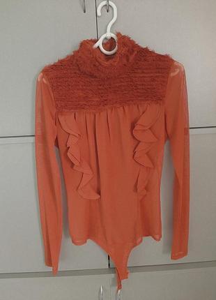 Блуза-бодік теракотового кольору
