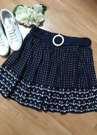 Распродажа! легкая юбка с якорями от new look в морском стиле