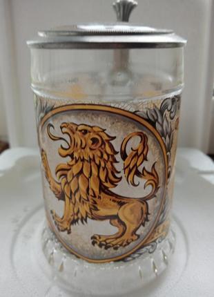 """Коллекционная пивная кружка,бокал со знаком зодиака """"лев"""" и его характерными отличиями"""