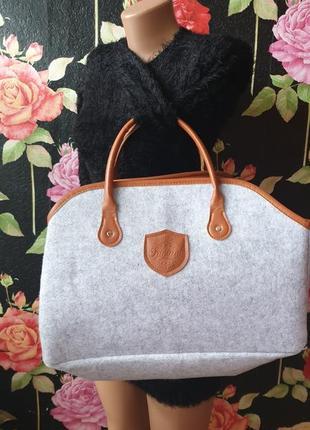 Брендовая большая сумка шоппер войлок , кожа