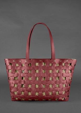Шкіряна плетена жіноча сумка пазл xl бордова krast - bn-bag-34-vin