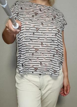 Цельнокроенная лёгкая футболка в принт птички redherring 16-18 размер