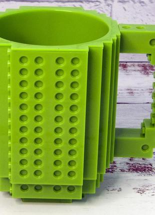 Кружка чашка конструктор лего зеленая