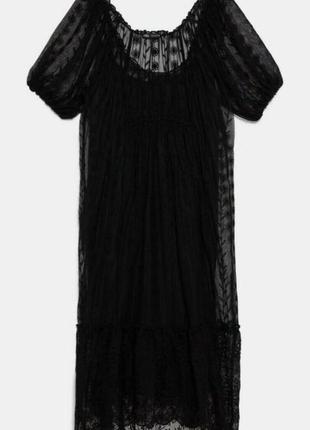 Красивое вечернее кружевное платье миди zara.