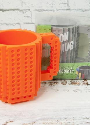 Кружка чашка конструктор лего оранжевая