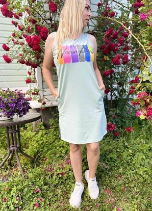 Женский сарафан платье трикотажное трикотаж хлопок 48-50