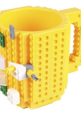 Желтая кружка чашка конструктор лего +подарок