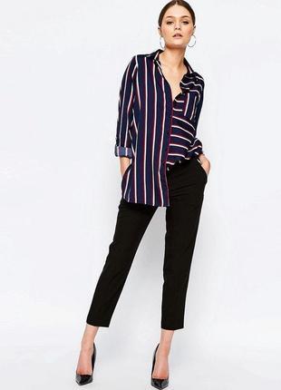 Длинная рубашка в полоску туника синяя красная белая длинный рукав атласная шелковая