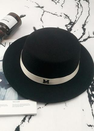 Шляпа женская канотье maison michel черная