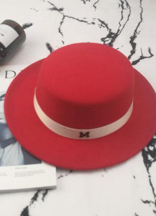 Шляпа женская канотье maison michel красная