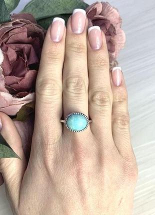 Срібний перстень з амазонітом