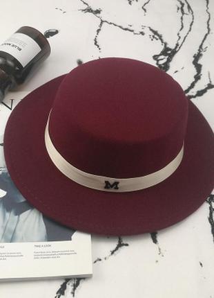 Шляпа женская канотье maison michel бордовая (марсала)