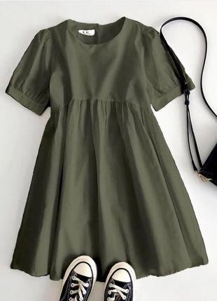 Платье свободное коттон цвет чёрный, белый, хаки , малина , голубой