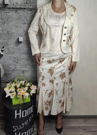 Костюм женский бежевый- юбка и пиджак(0650)