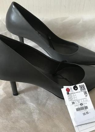 Zara! оригинал! стильные туфли натуральная кожа