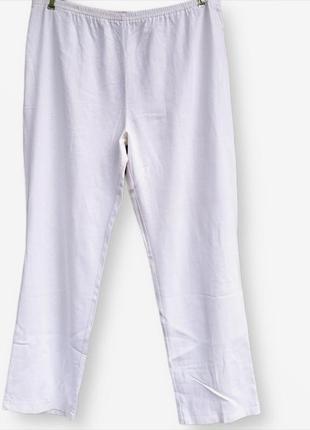 Белоснежные брюки в составе лён большого размера