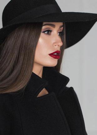 Шикарная черная шляпа 100% шерсть (wool )
