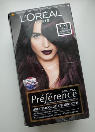 Стойкая краска для волос 3.26 терпкий глинтвейн темно-фиолетовый l'oréal