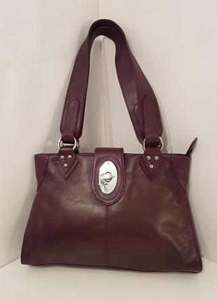 Шикарная кожаная сумка nova роскошного цвета спелый баклажан