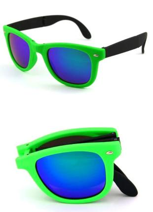 Распродажа солнцезащитные черно-салатовые складные очки-вайфареры с синим зеркалом