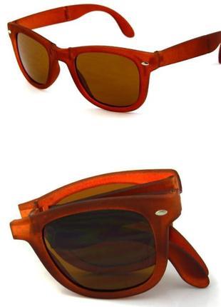 Распродажа солнцезащитные коричневые складные очки-вайфареры с коричневой дымчатой линзой