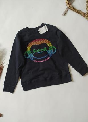Свитшот, кофта с манжетами, принт обезьяна, реглан, лонг світшот светр