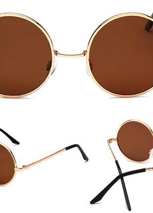 Круглые поляризованные очки от солнца с металл оправой линза коричневая дымка