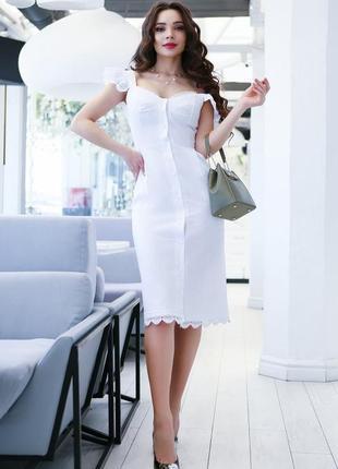 Коттоновый сарафан, платье с кружевом, белое