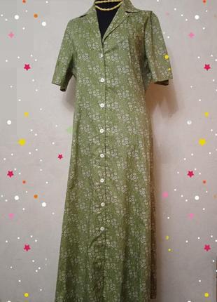 Платье халат из хлопка, ретро винтаж
