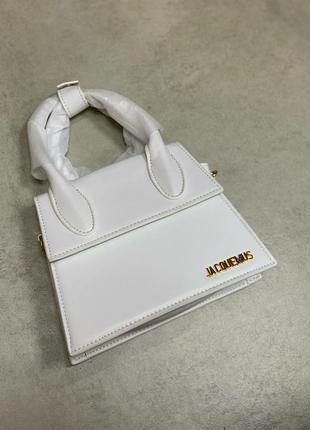 Белая кожаная сумка в стиле jacquemus🔝🌸🔝хит сезона