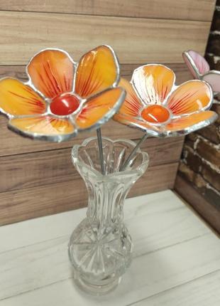 Витражный цветок оранжевая космея