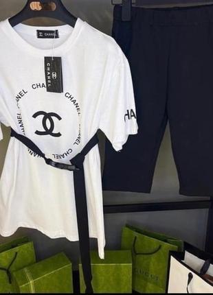 Костюмчик - футболка свободного кроя + велосипедки.