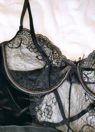 Эротическое белье, сексуальное бархатное боди большой размер, на косточках5 фото
