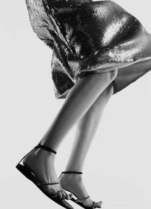 Трендовые чёрные сандали с камешками zaraсабо шлёпанцы шлепки