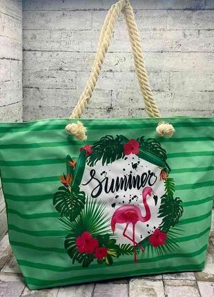 Пляжная, летняя сумка фламинго 55х40х15