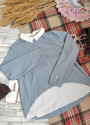 Кофта блуза с длинным рукавом воротником большого размера батал 4xl tu