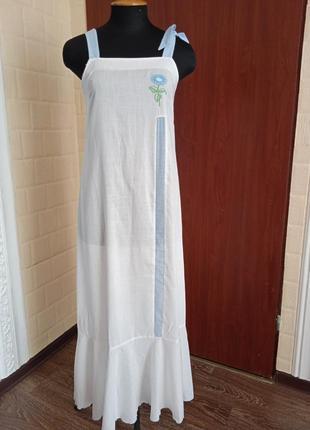 Французское легкое платье сарафан в пол макси.