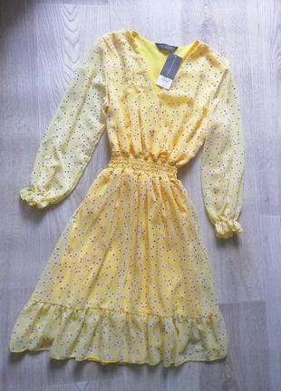 Шикарнейшее шифоновое платье в цветочный принт с длинным рукавом, платье с рюшей, сарафан в цветочный принт , сукня, плаття