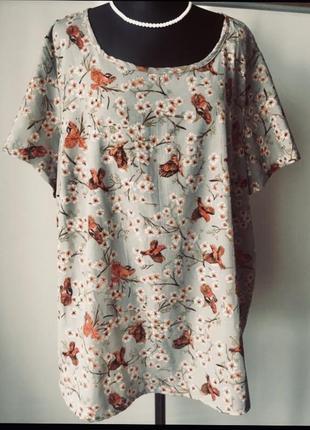 Нежная блузка большого размера в актуальный принт