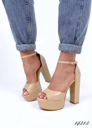 Босоножки боссоножки туфли сандалии на высоком каблуке на высокой платформе бежевые эко лак5 фото